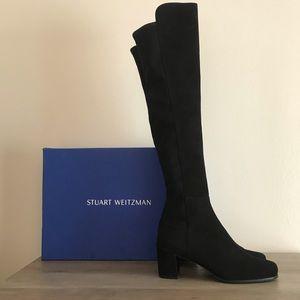 Stuart Weitzman 50 50 Black Suede Block Heel Boots